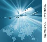 large passenger plane flying... | Shutterstock .eps vector #329128586
