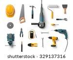 helmet  drill  angle grinder...   Shutterstock . vector #329137316