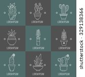set of succulent plants and... | Shutterstock .eps vector #329138366