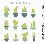 set of succulent plants and... | Shutterstock .eps vector #329138402