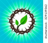 crown of thorns with new young... | Shutterstock .eps vector #329139362