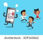 business team and smartphone... | Shutterstock .eps vector #329163662