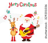 reindeer and santa claus... | Shutterstock .eps vector #329201036