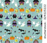 halloween seamless pattern with ... | Shutterstock .eps vector #329225222