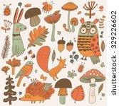 lovely forest set with lovely... | Shutterstock .eps vector #329226602