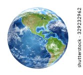 Small photo of Planet Earth from space showing North & South America, USA. World isolated on white background. Elements of this image furnished by NASA