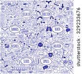 mega set of doodle social ... | Shutterstock .eps vector #329233676