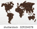coffee beans global world map | Shutterstock . vector #329234378
