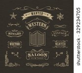 western hand drawn banners... | Shutterstock .eps vector #329234705
