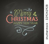christmas lettering with... | Shutterstock .eps vector #329242928