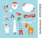 set of christmas and new year... | Shutterstock .eps vector #329249828