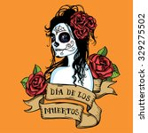 hand drawn day of dead mexican... | Shutterstock . vector #329275502