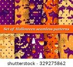 set of halloween seamless... | Shutterstock .eps vector #329275862