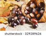 Fresh Edible Chestnuts Spill...