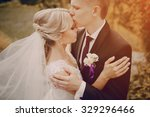 beautiful blond wedding couple... | Shutterstock . vector #329296466
