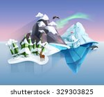 polar nature  winter wonderland ... | Shutterstock .eps vector #329303825