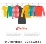 Stock vector men s and woman s clothes on hangers vector illustration 329313668