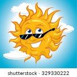 happy cool bright sun wearing... | Shutterstock .eps vector #329330222