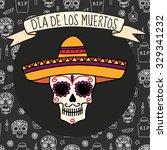 colorful skull in sombrero on... | Shutterstock .eps vector #329341232