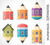 set of colorful pencil houses.... | Shutterstock .eps vector #329346506