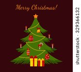 christmas tree made in flat...   Shutterstock .eps vector #329366132