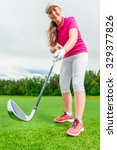 vertical shot girl golfer... | Shutterstock . vector #329377826