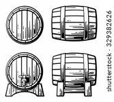 Wooden Barrel Set. Engraving...