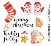 watercolor christmas cute...   Shutterstock . vector #329383472