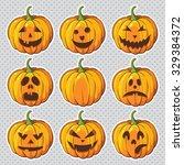 halloween set with pumpkins | Shutterstock .eps vector #329384372