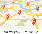 vector perspective city map... | Shutterstock .eps vector #329390822