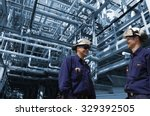 oil and gas workers inside... | Shutterstock . vector #329392505