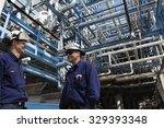 oil and gas workers inside...   Shutterstock . vector #329393348
