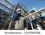 oil worker talking in phone... | Shutterstock . vector #329394386