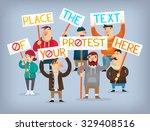people on strike waving banners ... | Shutterstock .eps vector #329408516