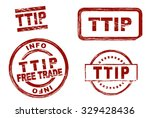 set of stylized red stamps... | Shutterstock .eps vector #329428436