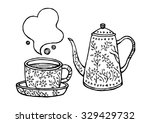 set of coffee  tea cup and pot... | Shutterstock .eps vector #329429732