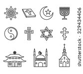 religion line icons vector set. ... | Shutterstock .eps vector #329434406
