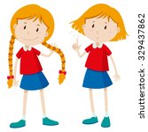 girls with long hair and short... | Shutterstock .eps vector #329437862
