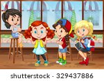 children hanging out in the... | Shutterstock .eps vector #329437886