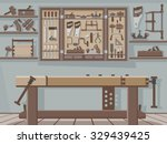 traditional woodworking workshop | Shutterstock .eps vector #329439425