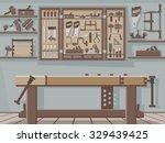traditional woodworking workshop | Shutterstock .eps vector #329439425