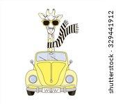 giraffe in sunglasses and... | Shutterstock .eps vector #329441912