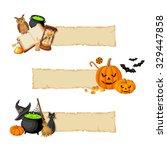 vector halloween magic banners... | Shutterstock .eps vector #329447858