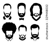 silhouettes of men with beard... | Shutterstock .eps vector #329448032