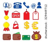 shopping pixel icons set. pixel ... | Shutterstock .eps vector #329449712