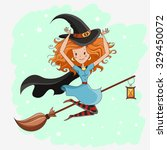 witch  halloween witch  little... | Shutterstock .eps vector #329450072