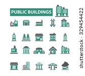 public buildings icons | Shutterstock .eps vector #329454422