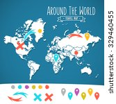 hand drawn world map with pins... | Shutterstock .eps vector #329460455