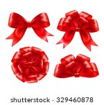 set of red gift bows with... | Shutterstock .eps vector #329460878