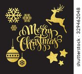christmas gold glitter ... | Shutterstock .eps vector #329462048